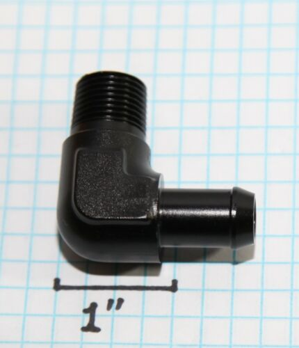 """2pc 90Deg Fuel Oil Gas Line 3//8/""""NPT Male to 1//2/"""" Hose Barb Fitting Adapter Black"""