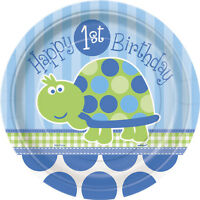 First (1st) Birthday (Boy) TURTLE 8 SMALL PAPER PLATES (18cm) (Party)