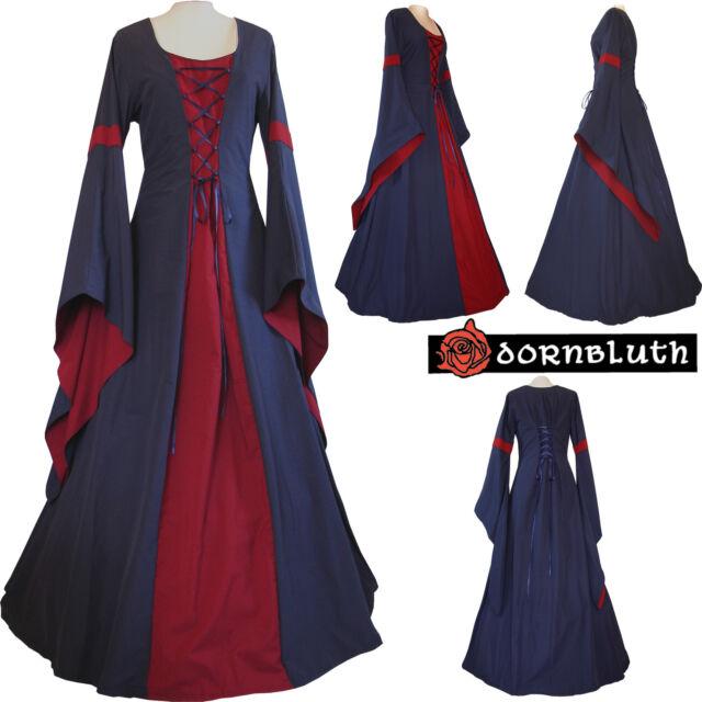 Mittelalter Gothic Karneval Larp Gewand Kleid Kostüm Johanna Braun-Safran XS-60