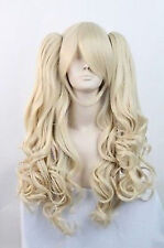 New Lolita Long Blonde Halloween Cosplay Party Curly Full Wig + 2 Ponytails