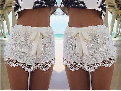 Sexy Ladies Celeb White Festival Summer Crochet Lace Bow Mini Shorts Pants 6-14