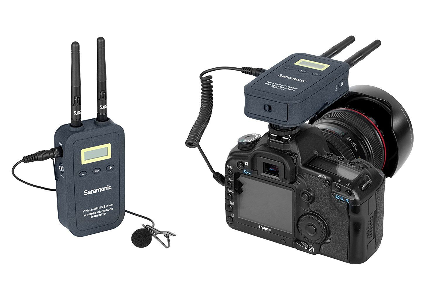 Saramonic VmicLink5 5.8GHz HiFi Wireless Lavalier Microphone System System System for Video 621069