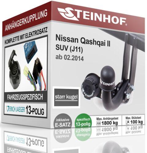 E-SATZ 13p SPEZ Für Nissan QASHQAI II J11 ab 02.2014 Anhängerkupplung starr