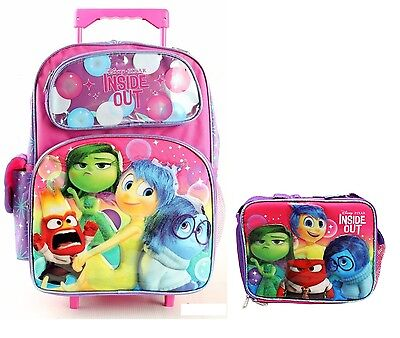 Disney Pixar Inside Out Large 16 Rolling Backpack /& Lunch Box BRAND NEW