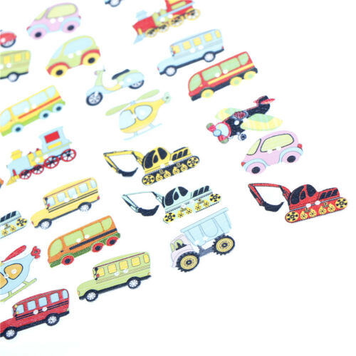 50pcs Wood Mixed Cars And Airplane Sewing Children Buttons Scrapbook Crafts Y//