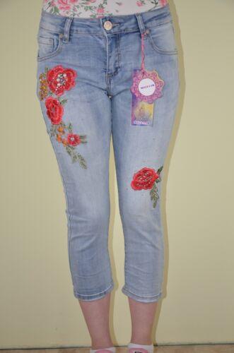 Mozzaar Capri Jeans Stonewashed ricami Glitter Blu Chiaro nella taglia XS-XL