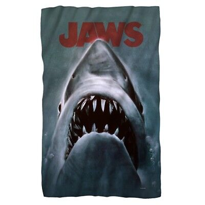 New Jaws Movie 50x60 Plush GIFT Throw Blanket WARM Shark Attack Film Soft Thick