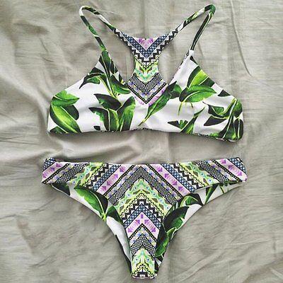 Women's Fresh Leaves Printing Cross Swimsuit Swimwear Beachwear Bath Bikini Set