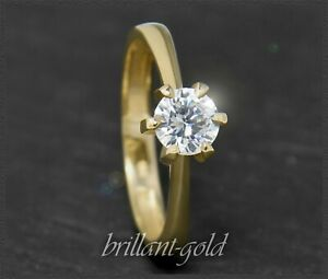 Diamant-Solitaer-Brillant-Ring-mit-0-63-ct-River-amp-Si-585-Gold-Damenring-NEU