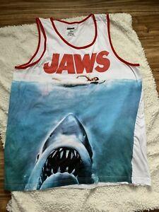 Men/'s JAWS Movie Big Bite Shark Logo Retro Adult Tank Top T-Shirt NEW Mens