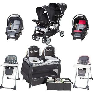 Details About Baby Boy Twins Combo Set Nursery Center Double Stroller 2 Car Seat Chairs