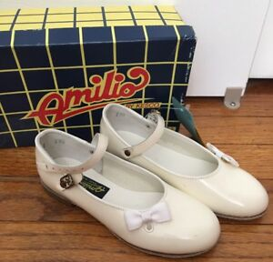 Amilio-by-Kesco-Girl-Dress-Shoes-White-Patent-Leather-Mary-Jane-Sz-7-8-8-5-NEW