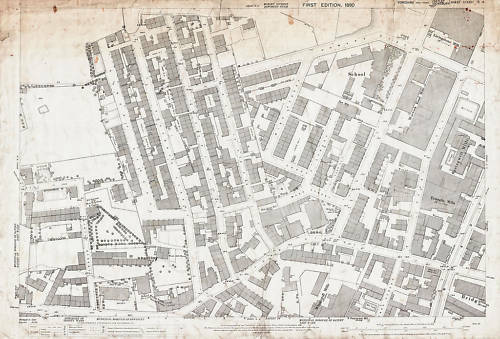 Town St Warwick Rd 1890 Batley Yorks old map repro 232-15-14