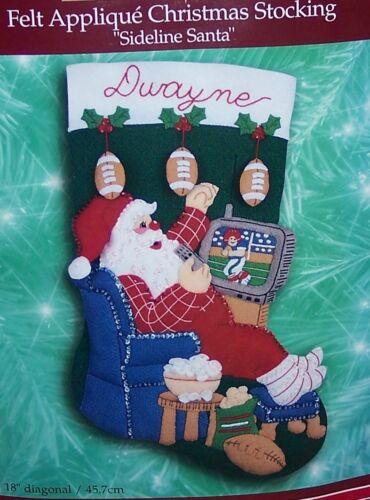 "Bucilla FOOTBALL SIDELINE SANTA Felt Christmas Stocking Kit 18/"" 84184 H.T"