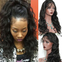 Full Lace Wigs Brazilian Virgin Human Hair Lace Front Wig Black With Baby Hair H