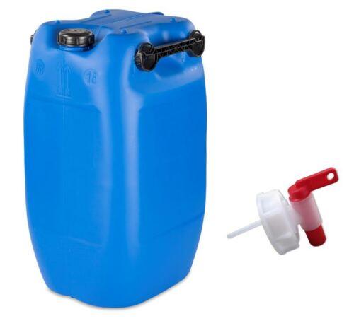 Hahn 60 L Kanister blau mit 3 Griffe Fass Tank Behälter Camping Kunststoff