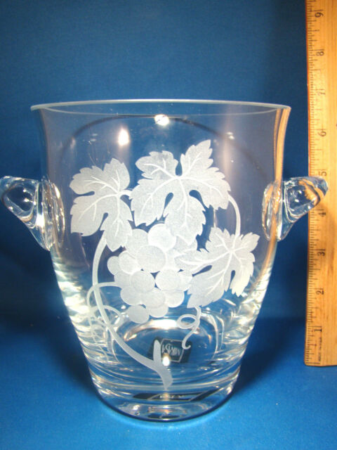 Ice Bucket Vase Mikasa Crystal Etched Glass Two Handle Leaf Grape