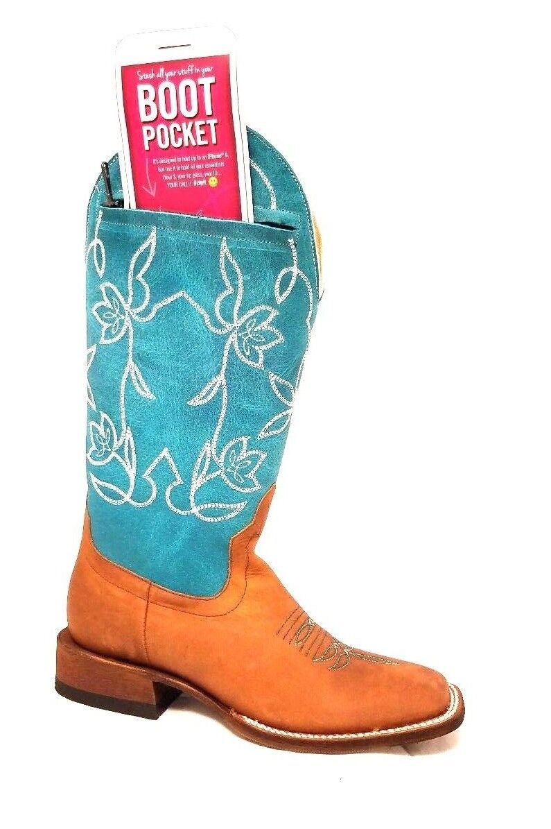 Macie Bean Pocket Top Again Square Toe Western Boots M9126 Zipper!!!!