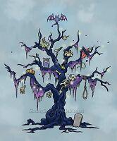 Spooky Halloween Tree Cross Stitch Pattern