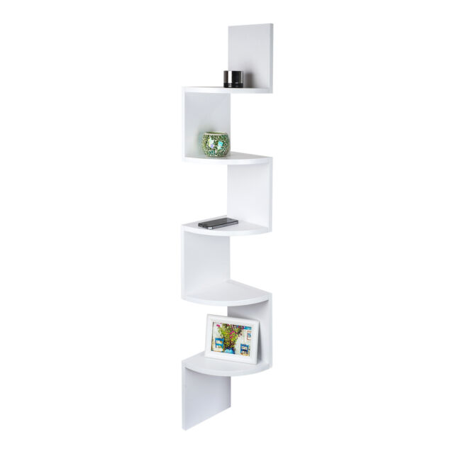 WHITE ZIG ZAG MDF FLOATING CORNER WALL SHELF UNIT MODERN DISPLAY SHELVING YM