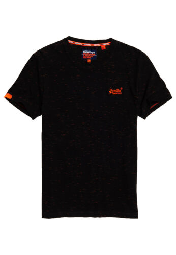 Superdry T-Shirt Herren OL VINTAGE EMB CREW Black Fluron Space Dye