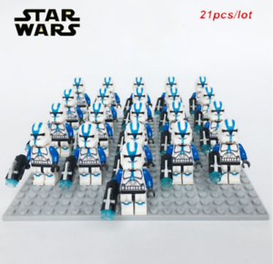 21Pcs-Minifigures-Star-Wars-Blue-Clone-Trooper-501st-Clone-Army-Trooper-FIT-Lego