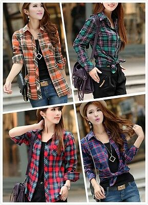 Fashion Women Korean Style Long Sleeve Casual Plaids & Checks Shirts Tops Coat