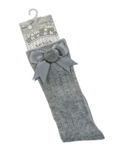 Baby Boys Girls 1 Pair Pom Pom With Satin Bow Spanish Knee-Length Socks S107