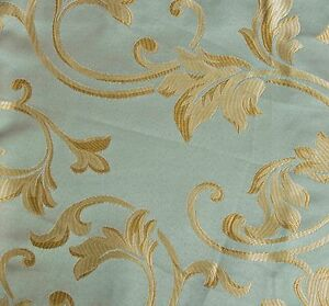 10-Yards-JACQUARD-BLUE-GREEN-FLORAL-DESIGN-DRAPERY-UPHOLSTERY-FABRIC-Width-60-034