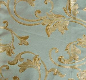 10-Yards-JACQUARD-BLUE-GREEN-FLORAL-DESIGN-DRAPERY-UPHOLSTERY-FABRIC-Width-60
