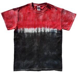 Black-amp-Red-Stripe-TIE-DYE-T-SHIRT-Festival-Rainbow-Top-Tee-Tye-Die-Tshirt