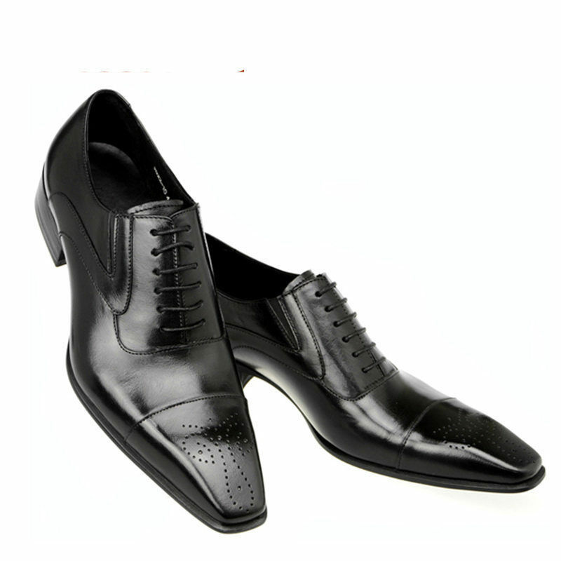Men Bespoke Handmade Genuine Black Leather Oxford Brogue Toe Cap Lace-Up shoes