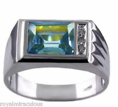 Mens Diamond Ring Aquamarine 14K Yellow or White Gold