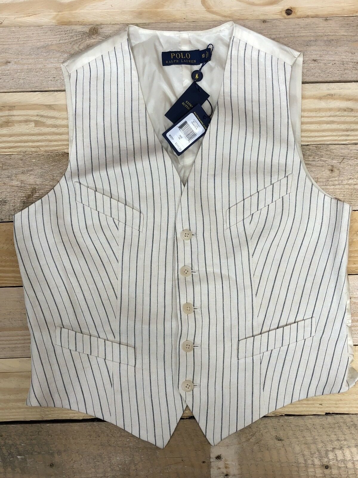 NWT RALPH LAUREN Linen Cream Suit Striped Vest Top MSRP , Sz 10