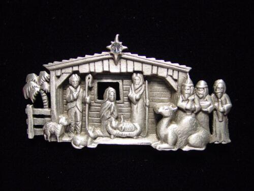 """/""""JJ/"""" Jonette Jewelry argent étain sont nettement Crèche de Noël /""""CHRISTMAS PIN"""