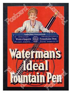 Historic-Waterman-039-s-Ideal-Fountain-Pen-c-1905-Advertising-Postcard