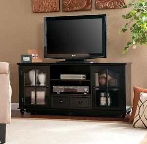 New 52 Black Media Console Cabinet Tv Stand With Glass Doors Free