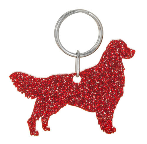 10 colour choices. Glitter acrylic Golden Retriever keyring//bag charm