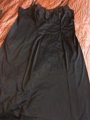 Amichevole Vintage. Pizzo Blu Scuro Seta Camicia Da Notte Taglia 18-20???-mostra Il Titolo Originale Aspetto Attraente