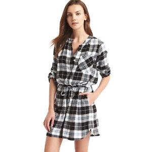 0d95ee5f95 Gap Women s Fall Black Plaid Long Sleeve Cinch Waist Shirt Dress ...