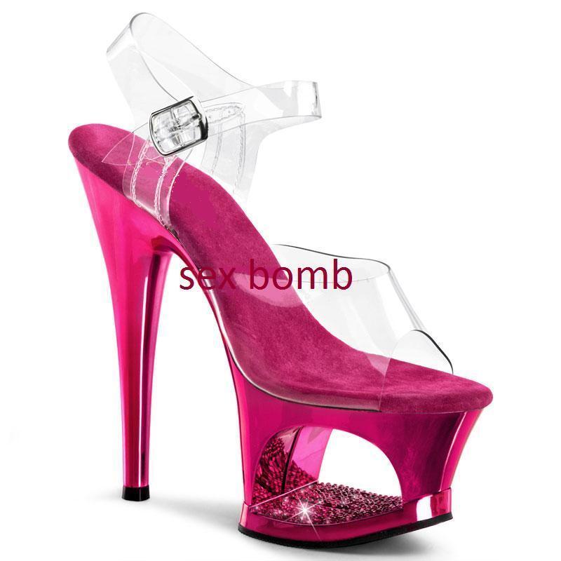 SEXY sandali FUCSIA cromati plateau STRASS tacco 18 DA 35 A 41 fashion GLAMOUR