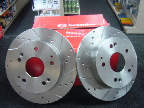 HONDA CIVIC TYPE R EP3 REAR BRAKE DISC BREMBO CROSS DRILLED GROOVED BRAKE DISC