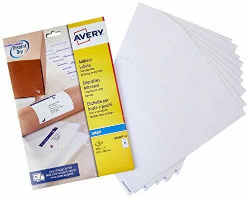 Avery J8160-10 Auto-Adhésif Adresse//Expédition étiquettes 21 étiquettes par feuille A4