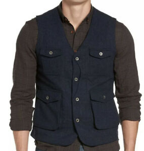 NWT-Jeremiah-Men-s-Porter-Herringbone-Wool-Vest-Navy-Size-M