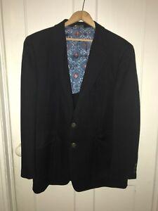Vintage Austin Reed Mens 40c Navy Blue Suit Coat Blazer Coat Pure Virgin Wool Ebay