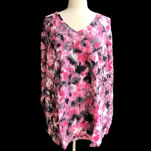 DENIM-CO-Women-s-Plus-Size-3X-Pink-Multi-Perfect-Jersey-Printed-V-neck-Top