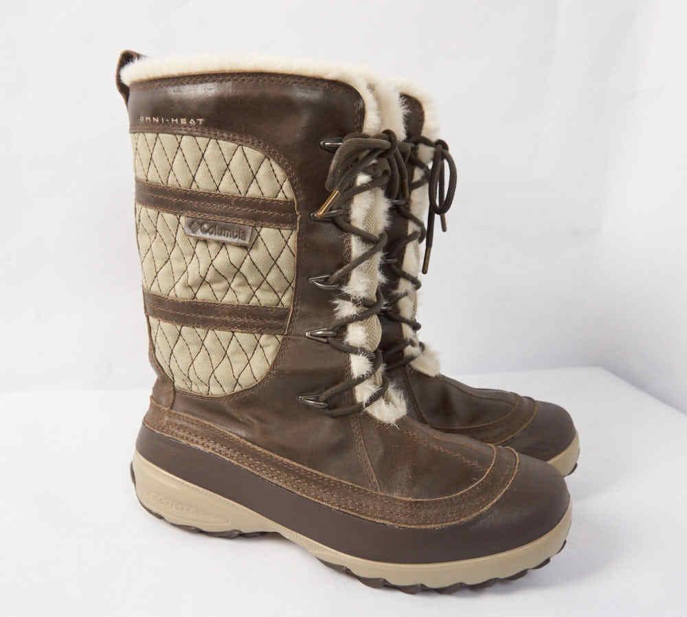 COLUMBIA Heather Canyon Waterproof Omni-Heat Leather Winter Snow Boots Women 8