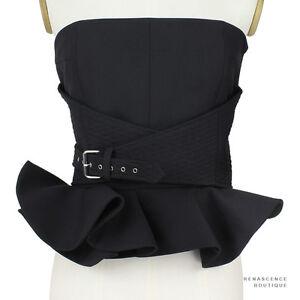 Bouchra-Jarrar-Luxurious-Black-Flared-Hem-Buckled-Bustier-Corset-Top-FR38-UK10