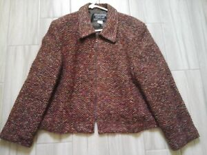 Nouveaux-Petite-Women-Multi-color-Tweed-Zip-Front-Cropped-Jacket-Size-16