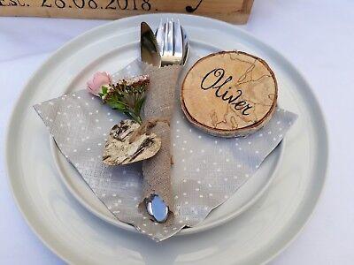 1 - 50pcs Nuova Tela Di Iuta Iuta Lace Wedding Portaposate Sacchetto Rustico Decorazione-mostra Il Titolo Originale